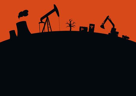 Pollution vector background. Dark landscape background. Wasteland vector illustration Illustration