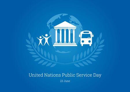 Tag der Vereinten Nationen des öffentlichen Dienstes. Blauer Hintergrund mit öffentlichen Symbolen. Wichtiger Tag