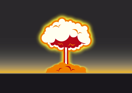 Nuclear explosion vector. Black background with atomic mushroom