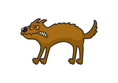 Cartoon angry dog. Dog vector illustration. Rabid dog