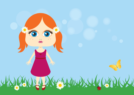 Cute little girl vector. Cartoon character of a little girl. Adorable little girl in the meadow Illustration