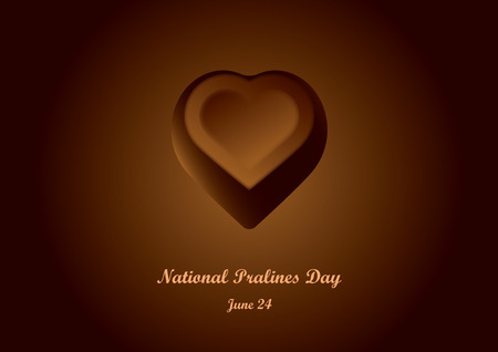 National Pralines Day vector.  Chocolate heart praline. Important day Ilustracja