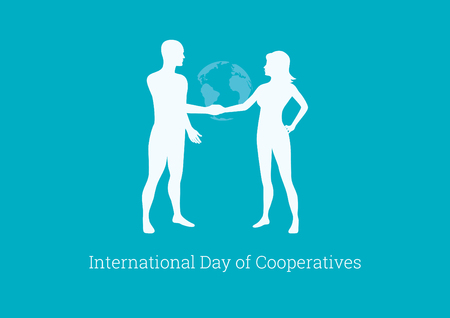 International Day of Cooperatives vector. Cooperation of people. Silhouette of man and woman. Important day