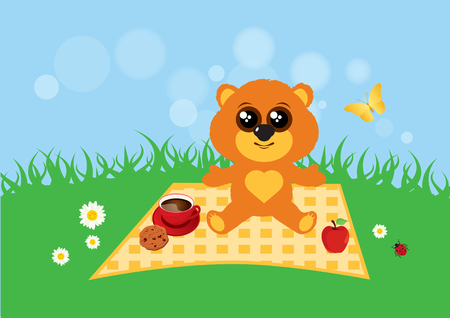 Teddy bear in the meadow vector. Cute teddy bear vector illustration. Teddy bear in summer Illustration