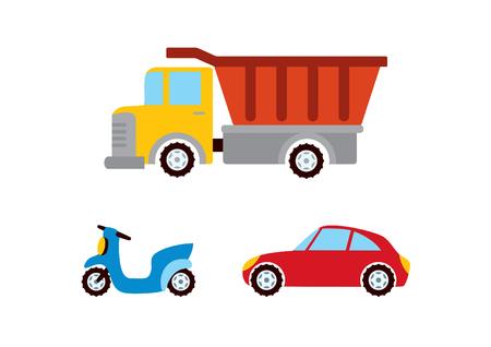 Vector del coche del juguete. Diferentes medios de transporte. Imágenes de coches de dibujos animados para niños