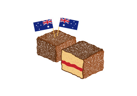 Lamington vector illustration. Lamington on a white background. Australian sweet delicacy