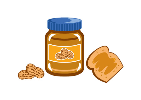 goody: Peanut Butter vector. Jar of peanut butter on white background