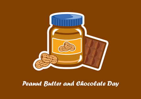 National Peanut Butter and Chocolate Day vector. Jar of peanut butter vector illustration. Peanut butter and chocolate. Important day