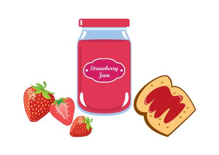 Strawberry jam vector. Strawberry jam on a white background. Breakfast still life Illustration