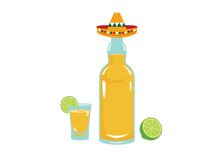 Tequila vector illustration. Bottle of tequila on a white background Illustration