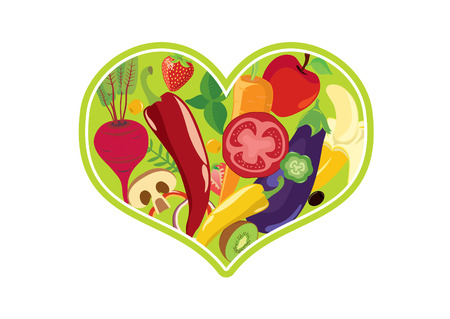 Vegetable heart vector. Fruit and vegetable icon. Vegan heart on white background