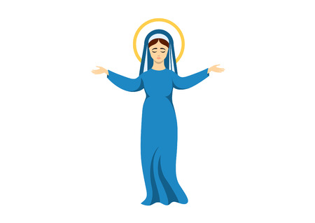 Virgin Mary vector. Assumption of the Virgin Mary. Virgin Mary icon isolated on white background