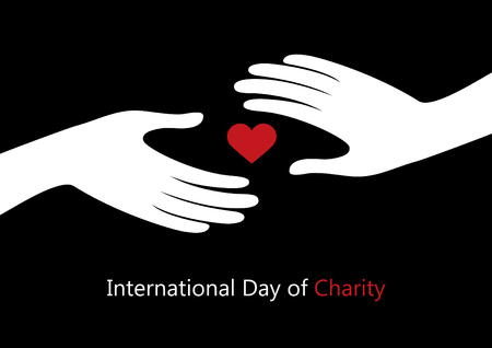 International Day of Charity vector. Hands with heart vector. Hand giving heart Illustration