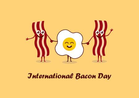 pareja comiendo: Día Internacional del Bacon. Vectores