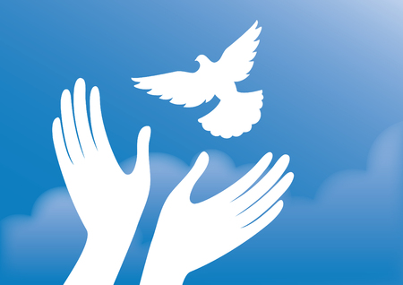 Freedom vector illustration. Hands with dove. Dove in the sky