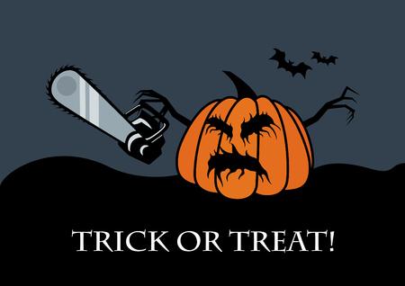 horrid: Trick or treat vector. Halloween pumpkin vector illustration. Halloween background