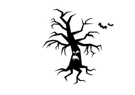 nightmarish: Horror tree silhouette. Illustration