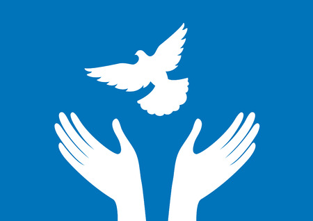 Hands with dove vector. Freedom vector illustration. Dove silhouette Иллюстрация