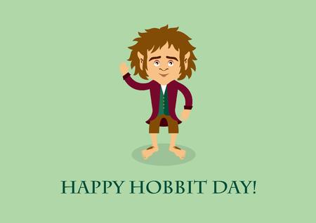 Happy hobbit day vector. Hobbit cartoon character. Important day