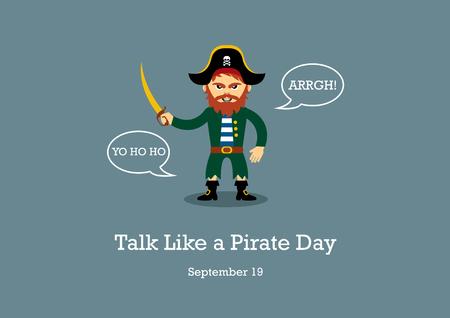 Praat als een piraatdag vector. Piraat cartoon karakter. Pirate vector illustratie
