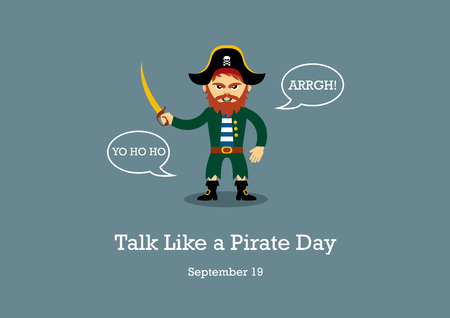 Talk Like a Pirate Day vector. Pirate cartoon character. Pirate vector illustration