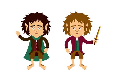 Hobbit cartoon character  イラスト・ベクター素材