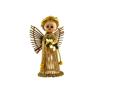 Straw angel figurine stock images. Christmas angel stock images. Christmas angel on a white background