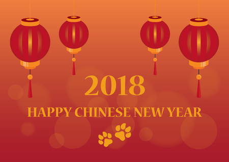 Happy Chinese new year 2018 vector. Chinese lanterns on red background. Chinese Year Dog Vector illustration.