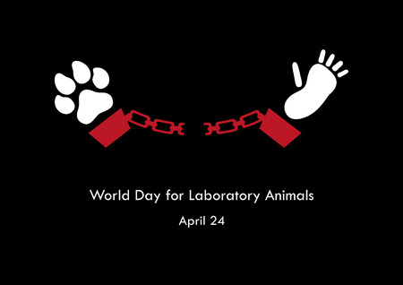 World Day for Laboratory Animals vector. Against cruelty to animals vector illustration. Stop the cruelty. Stop animal testing. Important day Illustration