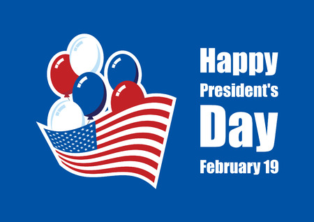 Happy Presidents' Day vector. American flag with balloons on a blue background. American holiday vector illustration. Important day
