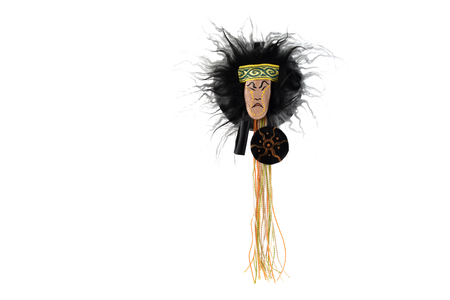 Russian shaman amulet stock  images. Head witch doctor on a white background. Ornament shaman figurine
