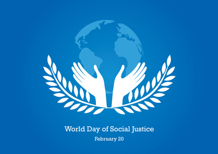 World Day of Social Justice vector. Hands with Earth. Silhouette of a hand with a laurel. Important day Ilustrace