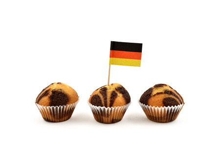 German flag Toothpick stock images. German national flag on white background. National pastry images. Flag decorations for party. Muffins with flags
