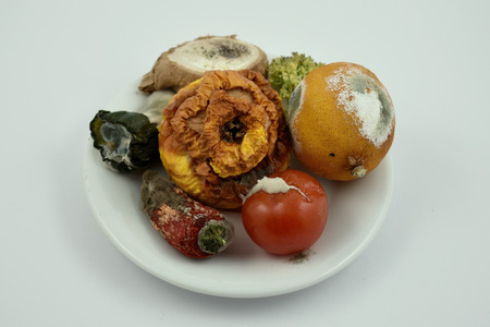 Rotten fruits and vegetables stock images. Moldy fruit and vegetables on a plate. Moldy fruits and vegetables on a white background Фото со стока