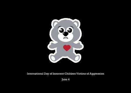 Vector del Día Internacional de los Niños Inocentes Víctimas de Agresión. Ilustración de vector de niños abusados. Oso de peluche triste sobre un fondo negro. Dia importante