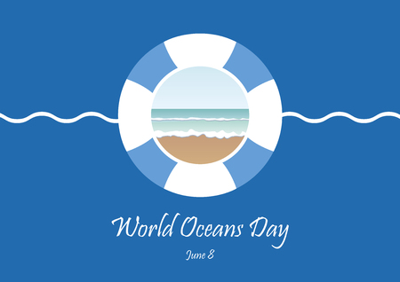 World Oceans Day vector. Lifebuoy on a blue background. Ocean vector illustration. Environment vector illustration. Important day