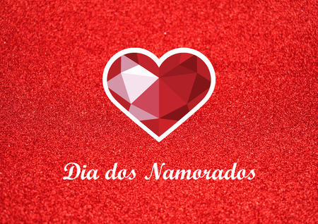 Dia dos Namorados vector illustration. Brazilian feast of love. Red diamond heart on a red background. Valentines Day romantic background Reklamní fotografie