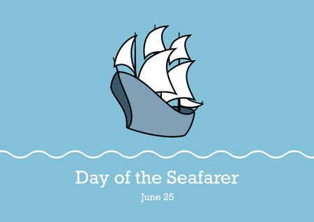 Day of the Seafarer vector. Old sailing ship. Sailing Boat vector icon. Ship on a blue background. Important day