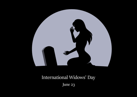 International Widows' Day vector. Crying woman vector illustration. Woman kneeling at a grave. Loss of husband picture. Important day Иллюстрация