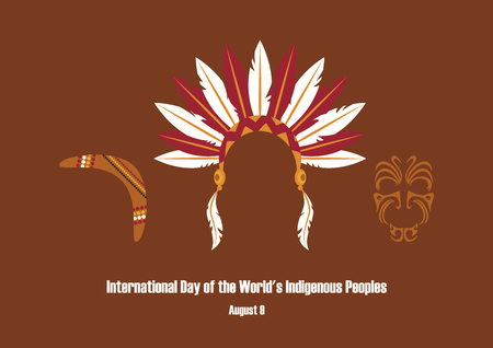 International Day of the Worlds Indigenous Peoples vector. Symbols of indigenous people. Indian headband icon. Important day  イラスト・ベクター素材