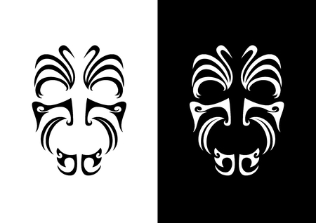 Maori face ornament vector. Symbols of indigenous people. Maori face tattoo icon. Black and white icon of the Maori warrior
