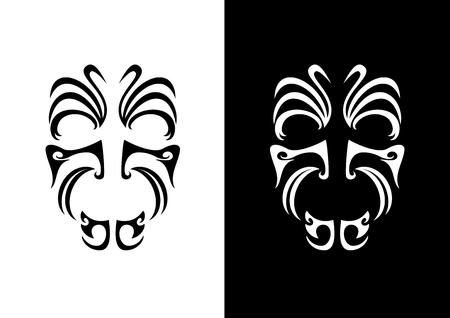 マオリ面装飾ベクトル。先住民族のシンボル。マオリフェイスタトゥーアイコン。マオリ戦士の黒と白のアイコン
