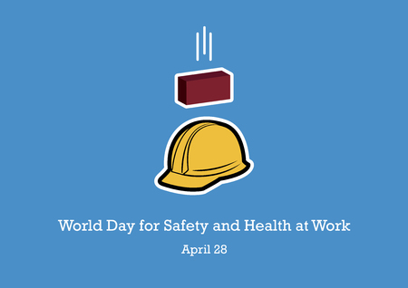 World Day for Safety and Health at Work vector. Accident at work illustration. Yellow work helmet. Safety of work poster. Important day  イラスト・ベクター素材