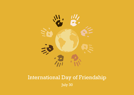 International Day of Friendship vector. Color hand print picture. Handprints on a orange background. Important day
