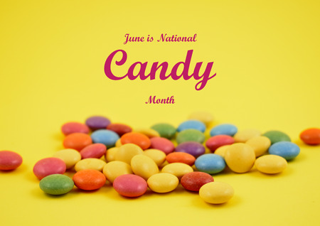 National candy month illustration. Colorful lentils stock images. Colorful candies on a yellow background. Chocolate lentils snack. Important day