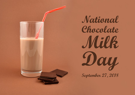 National Chocolate Milk Day illustration. Chocolate milk with chocolate pieces. Glass of chocolate milk on a brown background. Important day Stok Fotoğraf