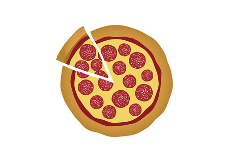 Pepperoni Pizza vector. Pizza isolated on white background. Salami pizza vector. Sliced ??pizza vector