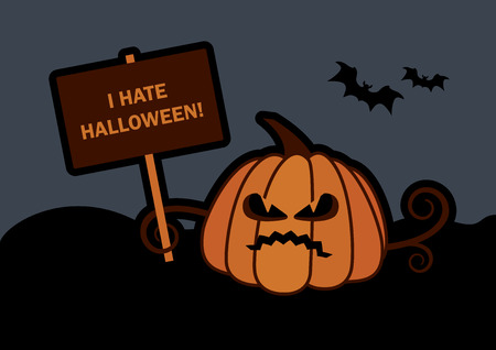 Angry pumpkin vector illustration. I hate halloween. Halloween pumpkin vector. Halloween dark background