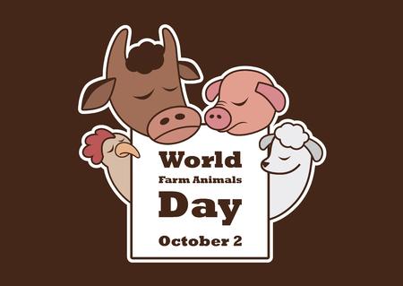 Vector del día mundial de los animales de granja. Personajes de dibujos animados animales de granja. Animales de granja tristes. Dia importante