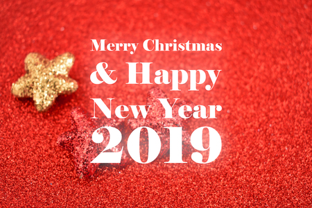 illustration merry christmas and happy new year 2019 illustration red christmas background shiny christmas card with stars